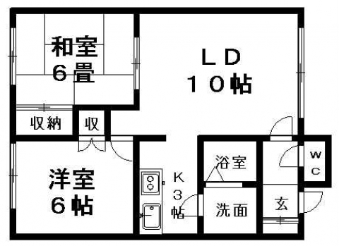 カメリアハイツB 203号室賃貸物件_間取図