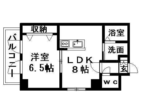 ハナブサビル 206号室賃貸物件_間取図