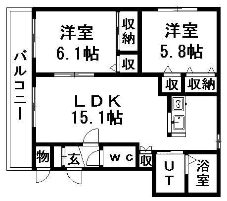 大光八番館 401号室賃貸物件_間取図