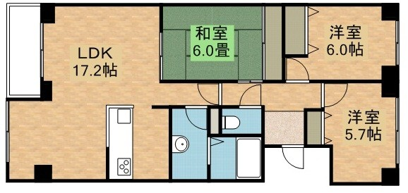 サーム広島インターBの間取写真
