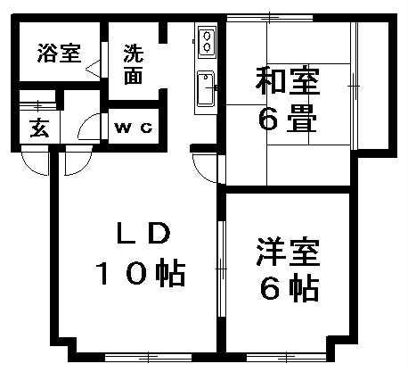 ヴェルディ北野B 102号室賃貸物件_間取図